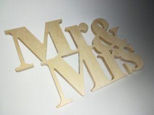 Drewniany napis MR&MRS